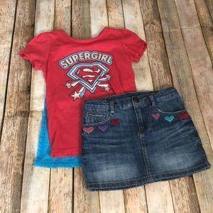 Jean Skirt and Super Hero Shirt